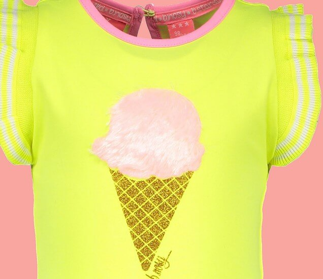 Kindermode B.Nosy Sommer 2019 B.Nosy T-Shirt Icecream electric yellow #5427
