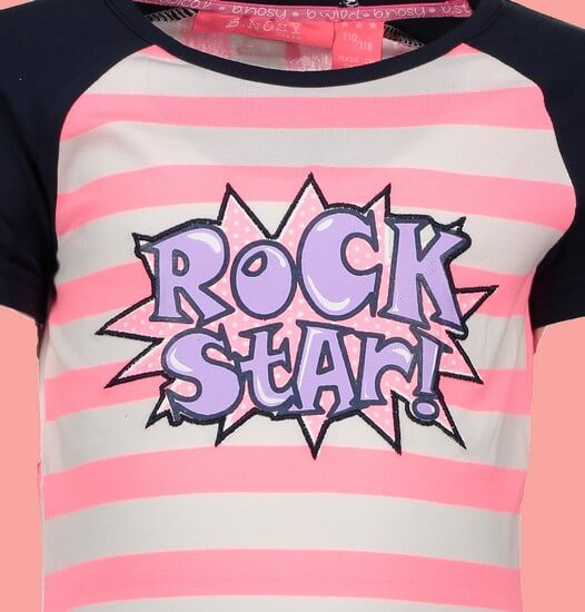 Kindermode B.Nosy Sommer 2019 B.Nosy T-Shirt Rock Star stripes bubblegum #5433