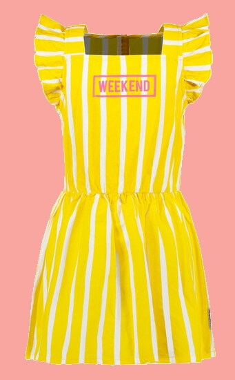 Kindermode B.Nosy Sommer 2021 B.Nosy Kleid Weekend stripes yellow #5871