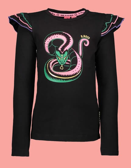 Kindermode B.Nosy Winter 2019/20 B.Nosy Shirt Pink Snake black #5410