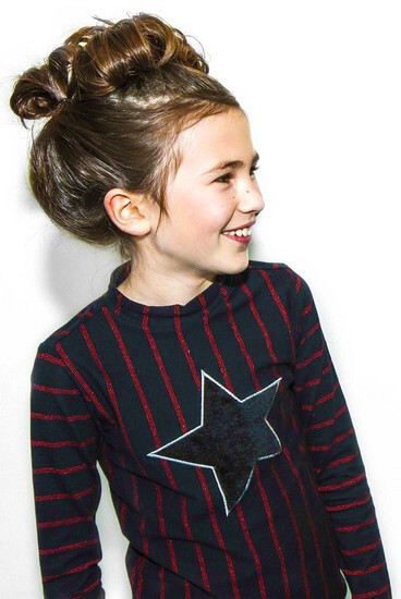 Kindermode B.Nosy Winter 2019/20 B.Nosy Shirt Star Red Stripes black #5400