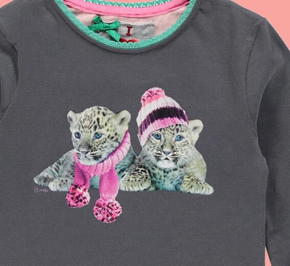 Kindermode Bomba for Girls Winter Bomba for Girls Shirt Tigertwins graphite #266