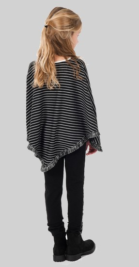 Kindermode Kiezeltje Winter KieStone Poncho / Cape stripe-dot #4631