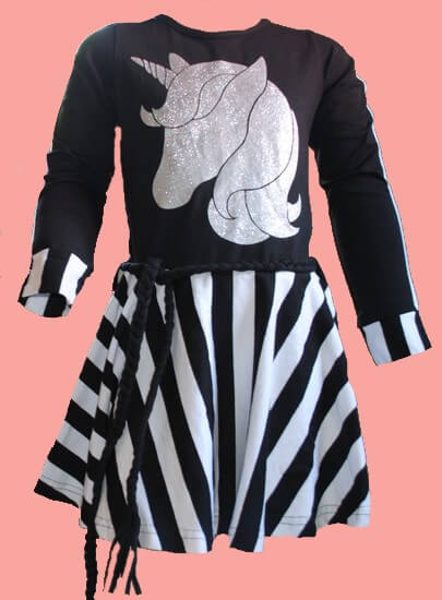 Kindermode LavaLava Winter 2019/20 LavaLava Kleid Unicorn black and white #215