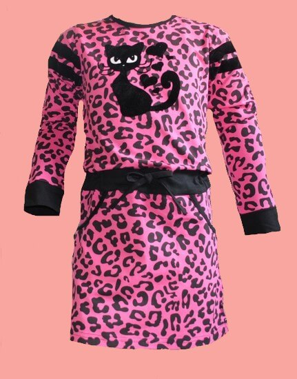 Kindermode LavaLava Winter 2019/20 LavaLava Kleid Sporty Cat fuchsia #219