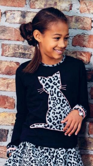 Kindermode LavaLava Winter 2019/20 LavaLava Shirt Sweet Cat black #233
