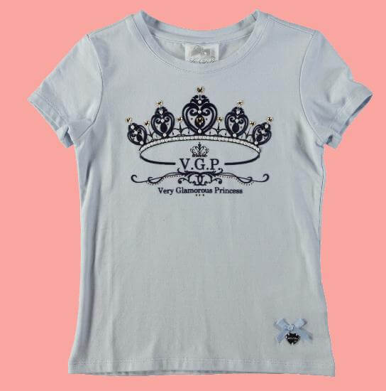 Kindermode Le Chic PreSpring 2017 Le Chic T-Shirt Crown powder blue #5400