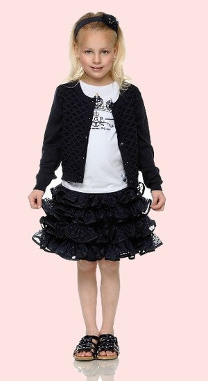 Kindermode Le Chic PreSpring 2017 Le Chic Strickjacke / Cardigan blue navy Diamond #5300