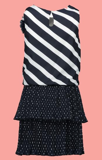 Kindermode Le Chic PreSpring 2018 Le Chic Kleid stripe and dots blue navy 5802