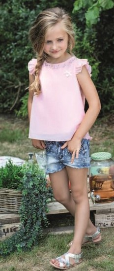 Le Chic Bluse Pink Crystal #5138 mit Shorts Hearts denim #5683