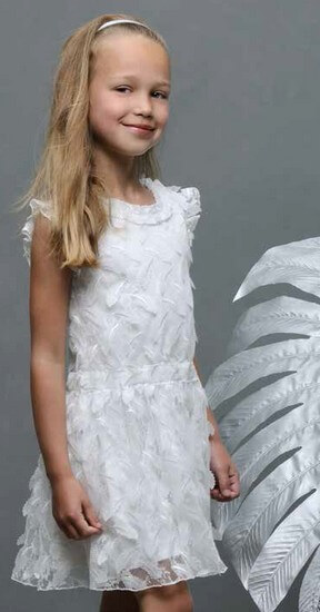 Le Chic Kleid Leaf Lace Off White #5813