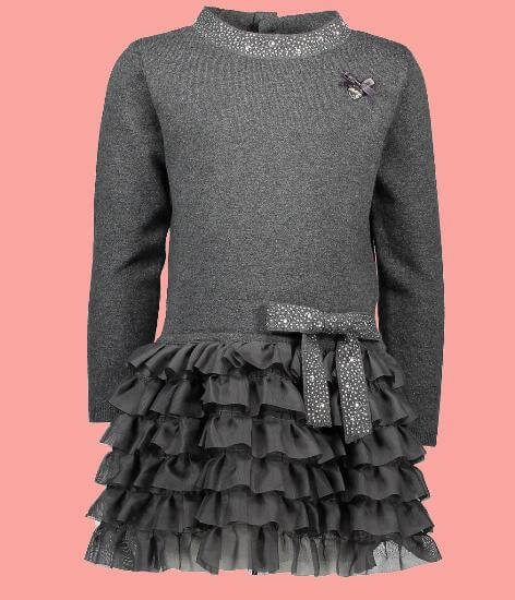 Kindermode Le Chic Winter 2017/18 Le Chic Kleid dark grey melee #5800