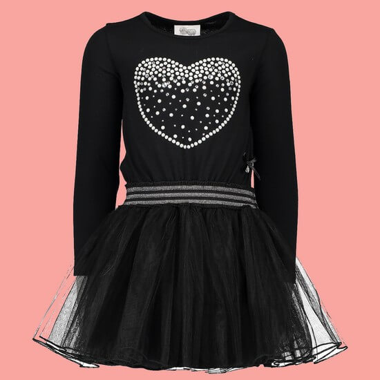 Kindermode Le Chic Winter 2018/19 Le Chic Kleid Pearl Heart black #5841