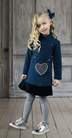 Kindermode Le Chic Winter 2018/19 Le Chic Kleid / Sweatkleid Heart blue navy #5834