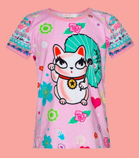 Kindermode Mim-Pi Sommer 2019 Mim-Pi T-Shirt Lucky Kitty pink #303