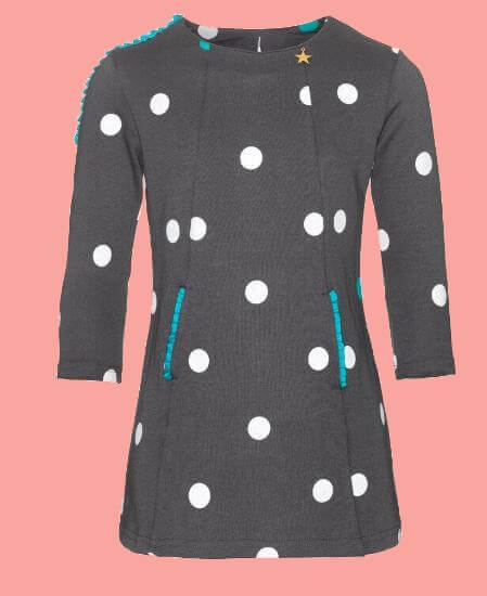 Kindermode Mim-Pi Winter 2018/19 Mim-Pi Kleid Happy Dots grey #39