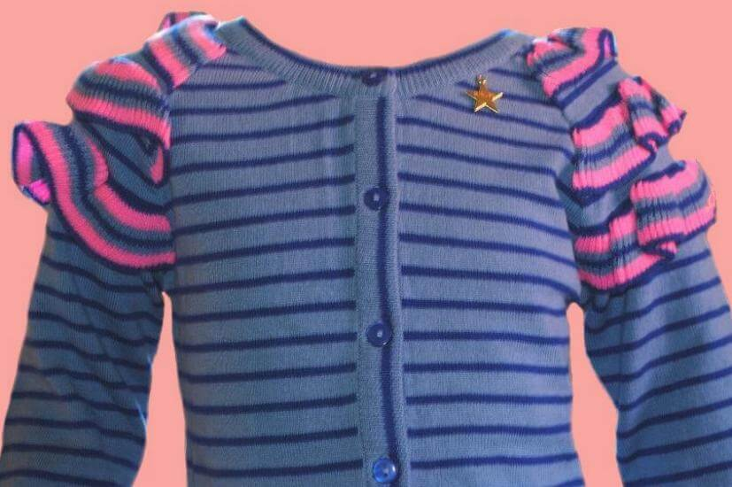 Kindermode Mim-Pi Winter 2018/19 Mim-Pi Jacke / Strickjacke Stripes blue #11