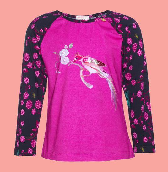 Kindermode Mim-Pi Winter 2019/20 Mim-Pi Shirt Bird Flowers pink #1060