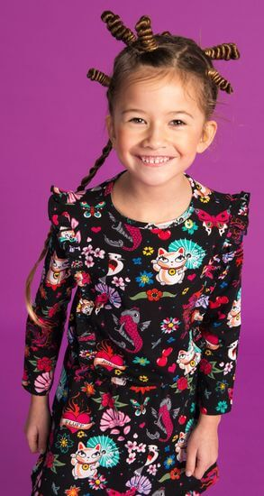 Kindermode Mim-Pi Winter 2019/20 Mim-Pi Kleid Happy Cat #1000