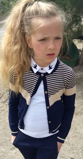 Kindermode Nono EarlySpring 2020 Nono Jacke / Strickjacke Aura Colorblock navy #5300