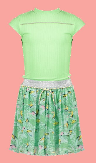 Kindermode Nono Sommer 2021 Nono Kleid Miky Parrot leaves green #5800