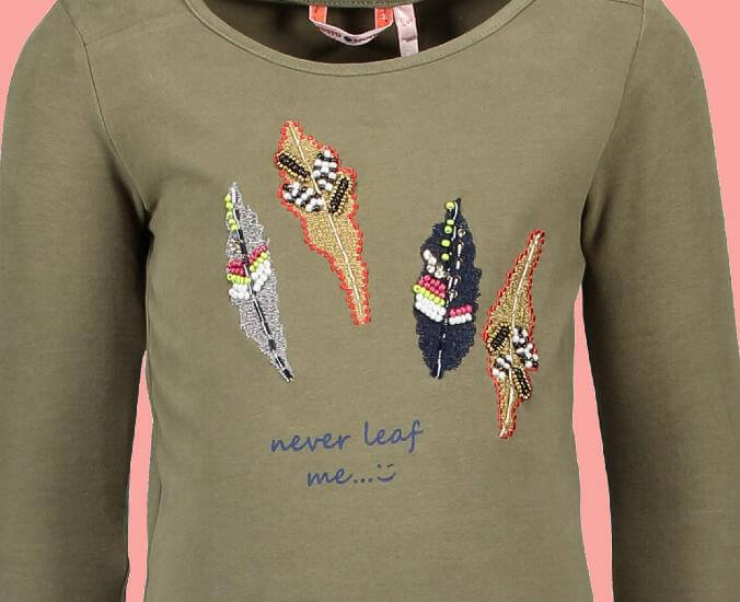 Kindermode Nono Winter Nono Shirt Kus Artwork dusty olive #5408