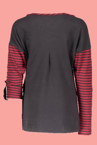 Kindermode Nono Winter Nono Shirt Komu stripe wine red #5417