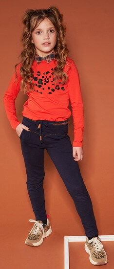 Nono Shirt Kua Leopard chili-red #5402 mit Sweathose Secler navy #5602 Winter 2020/21
