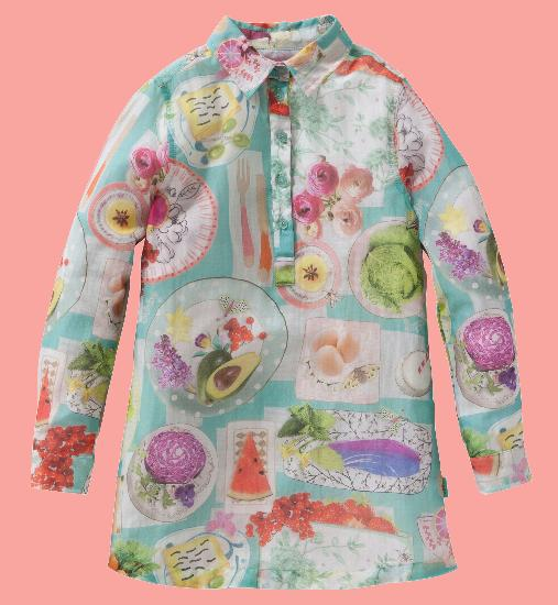 Kindermode Oilily Sommer 2016 Oilily Tunika / Kleid Picknick Voile türkis #305