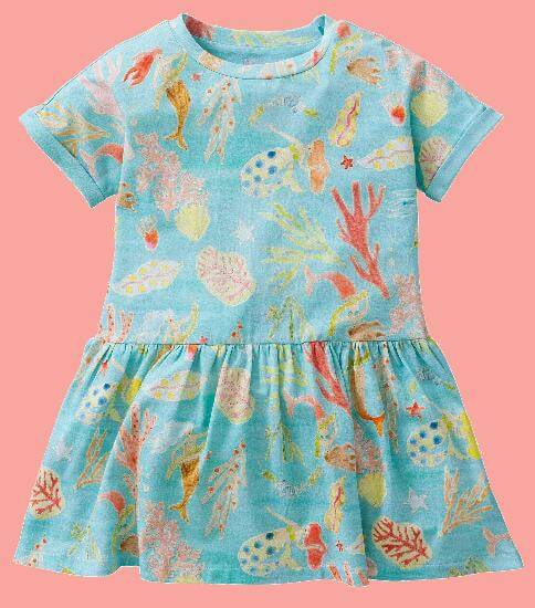Kindermode Oilily Sommer 2017 Oilily Kleid Troterly Mermaids and Corals lightblue #R286