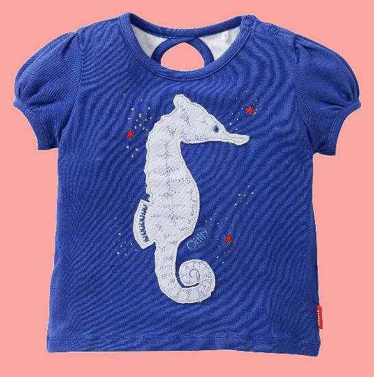 Kindermode Oilily Sommer 2017 Oilily T-Shirt Tabby Seahorse blue #E001