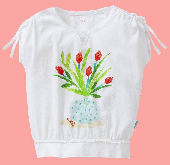 Kindermode Oilily Sommer 2017 Oilily T-Shirt Truth Tulips white #E217