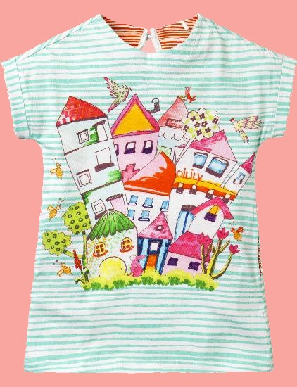 Kindermode Oilily Sommer 2018 Oilily Kleid Tunique stripes Houses light blue #292