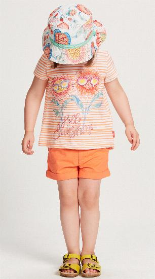 Kindermode Oilily Sommer 2018 Oilily T-Shirt Taliz Hello Sunshine orange stripe #202