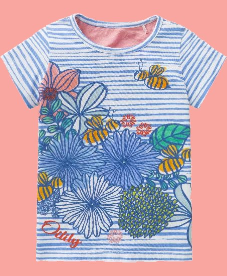 Kindermode Oilily Sommer 2018 Oilily T-Shirt Ti Flower stripes blue #212
