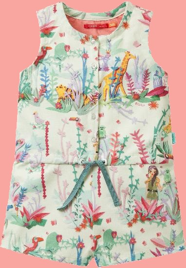 Kindermode Oilily Sommer 2018 Oilily Overall / Onesie Jungle Fever green #091