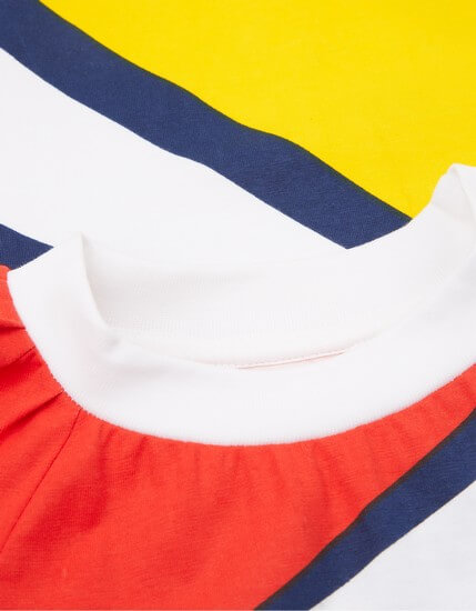 Kindermode Oilily Sommer 2019 Oilily Kleid Tokio jersey white-yellow-red #286