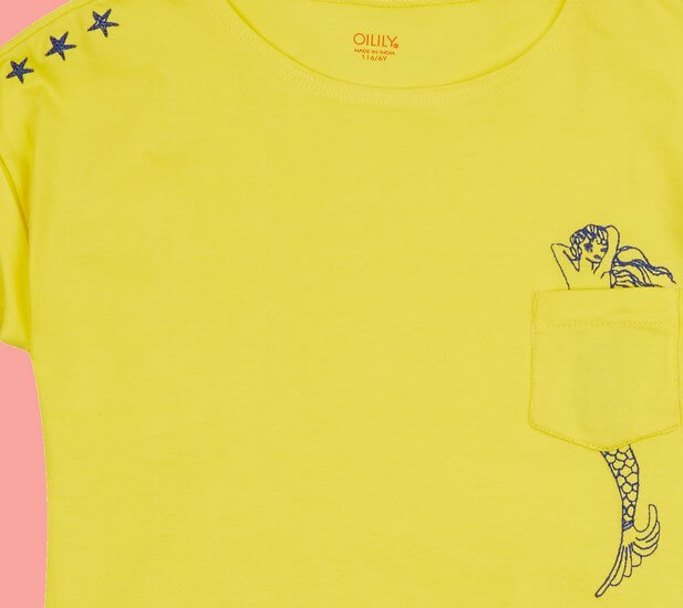 Kindermode Oilily Sommer 2019 Oilily T-Shirt Tato Mermaid yellow #224