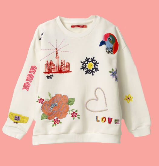 Kindermode Oilily Sommer 2020 Oilily Pullover Heritage Story offwhite #208