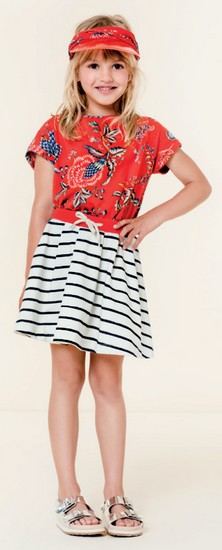Oilily Sommer 2020 T-Shirt Tatoma City red #209 mit Rock Hestia marine stripes #265