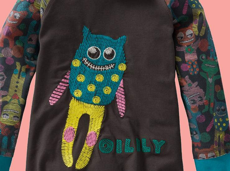 Kindermode Oilily Winter 2015/16 Oilily Kleid Torta brown friendly monsters #283