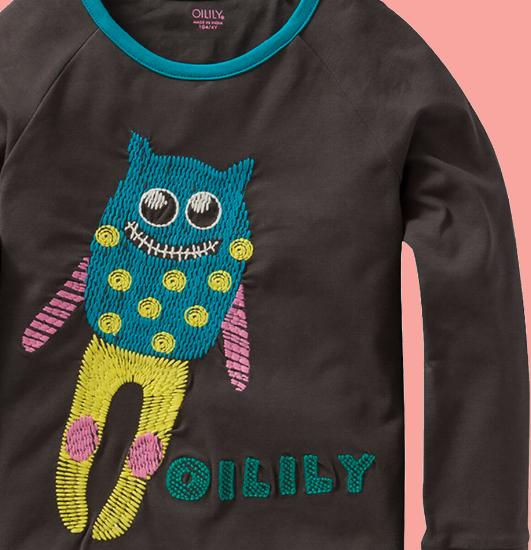 Kindermode Oilily Winter 2015/16 Oilily Shirt friendly monsters brown #216