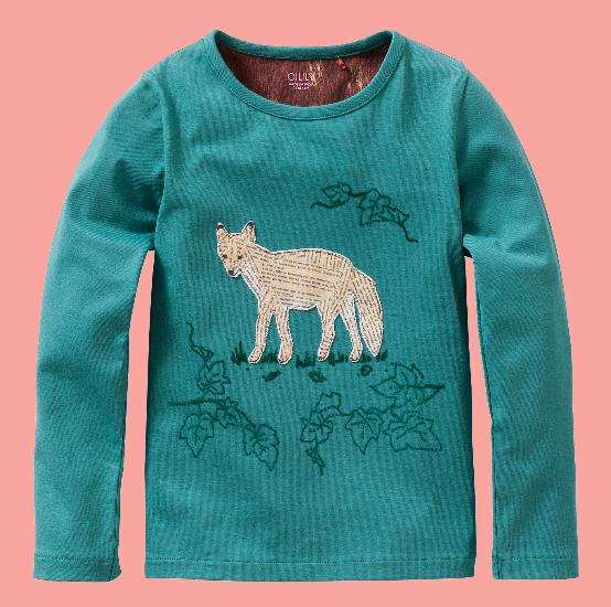 Kindermode Oilily Winter Oilily Shirt Tip Artwork Paperfox green #209