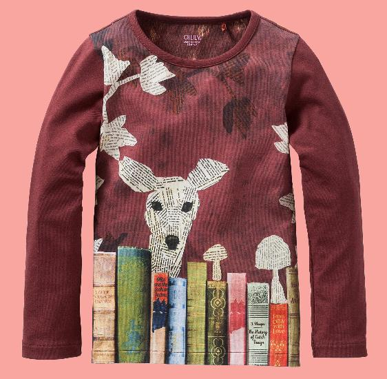 Oilily Shirt Tip Deer with books brown #212 von Oilily Winter 2016/17