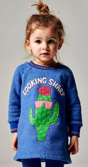 Kindermode Oilily Winter 2018/19 Oilily Kleid Hippel Cactus Looking Sharp  blue #063