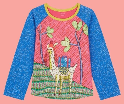 Kindermode Oilily Winter 2018/19 Oilily Shirt Tumble Lama Montana blue #218