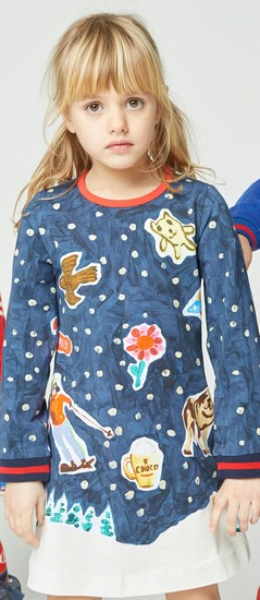 Kindermode Vorbestellung Oilily Winter 2019/20 Oilily Kleid Thelama Winter Night navy #283
