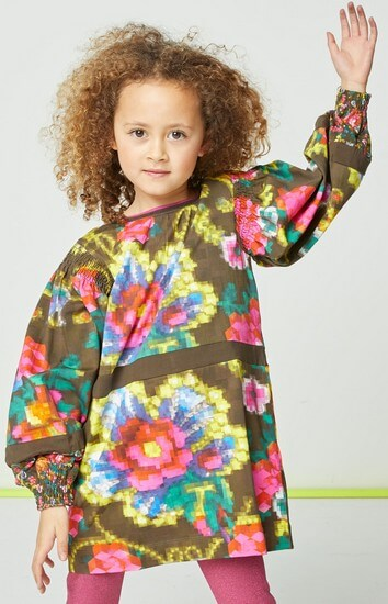Kindermode Oilily Winter 2019/20 Oilily Kleid Tingie Mosaic flower green #286