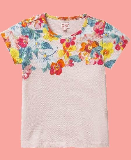 Room Seven T-Shirt Tins big flower pink #E026 von Room Seven Sommer 2018