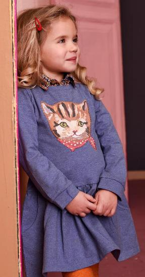 Kindermode Room Seven Winter 2017/18 Room Seven Kleid / Sweatkleid Hatty Cat blue #013